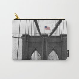 Brooklyn Bridge and American flag Carry-All Pouch