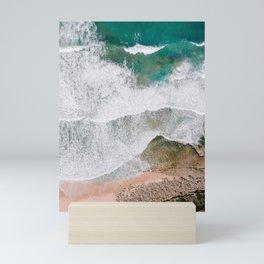 Waves of the ocean | Ericeira fine art travel photography | sea drone wall art Mini Art Print