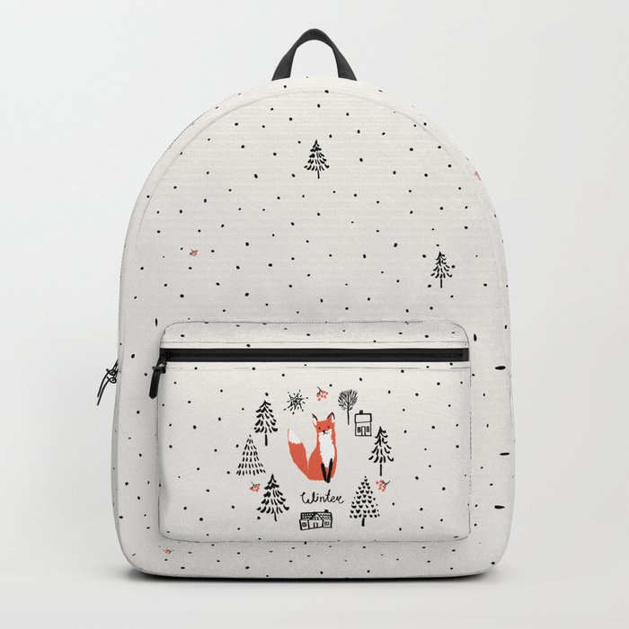 cc4bfb1101f4 Cute red fox in the fir trees with snow. Backpack by ojardin