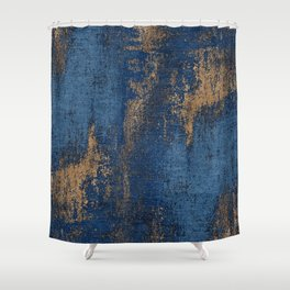 NAVY BLUE AND GOLD PATTERN Shower Curtain