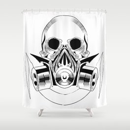 skull wearing a gas mask. vector with signature Shower Curtain