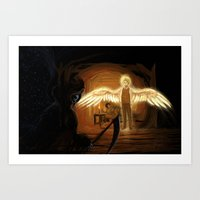 good omens Art Prints featuring Good Omens: Too Fine a Point by Katerina Romanova