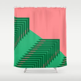 Line pattern, zigzagging with green and red Shower Curtain