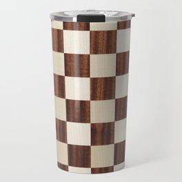 Brown checkered abstract wood Travel Mug