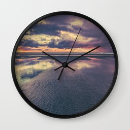Stormy Beach Sunset Wall Clock