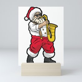 SANTA Playing SAXOPHONE Mini Art Print