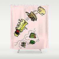 netflix Shower Curtains featuring Basquiat Netflix by alexSHARKE