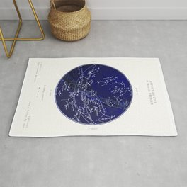 French February Star Map in Deep Navy & Black, Astronomy, Constellation, Celestial Rug