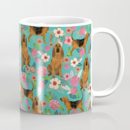 Bloodhound floral dog breed dog pattern pet friendly pet portraits custom dog gifts mint Coffee Mug
