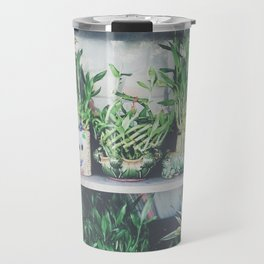 green bamboo plant in the vase pattern background Travel Mug