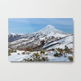 Beautiful winter mountainous landscape: snowcapped cone of volcano Metal Print