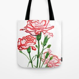 pink and red carnation watercolor painting Tote Bag
