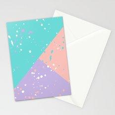Trendy pastel pink teal purple color block splatters Stationery Cards