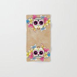 Calavera con Flores - Sugar Skull with Frangipani Flowers Hand & Bath Towel