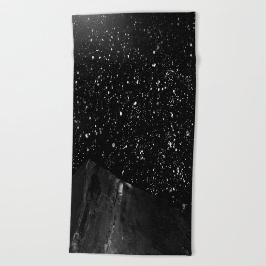 Moon Rising in the dark Black and White Beach Towel