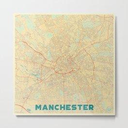 Manchester Map Retro Metal Print