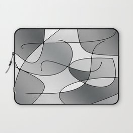 ABSTRACT CURVES #1 (Grays & White) Laptop Sleeve
