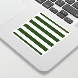 Large Dark Forest Green and White Cabana Tent Stripes Sticker
