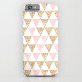 Pink & Gold Geometric Pattern iPhone Case