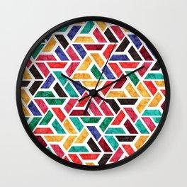 Seamless Colorful Geometric Pattern X Wall Clock
