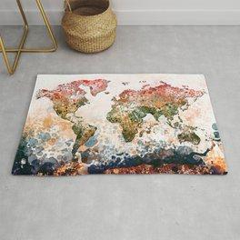 world map colors splats Rug