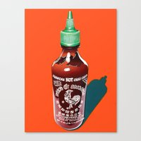 sriracha Canvas Prints featuring Sriracha by Cartyisme