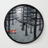 woods Wall Clocks featuring The Fox and the Forest by Nic Squirrell