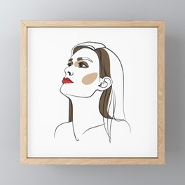 Woman with long hair and red lipstick. Abstract face. Fashion illustration Framed Mini Art Print