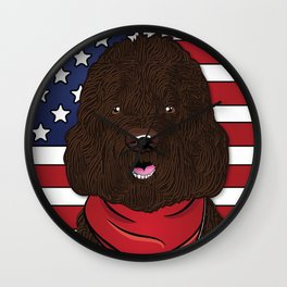 Labradoodle Art Poster by Artist A.Ramos. Designed in Bold Colors. Perfect for Pet Lovers Wall Clock