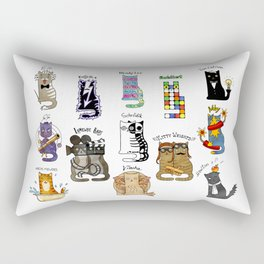 Science cats. History of great discoveries. Schrödinger cat, Tesla, Einstein. Physics, chemistry etc Rectangular Pillow