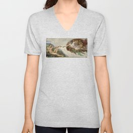 Michelangelo - Creation of Adam Unisex V-Neck