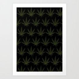 Weed Leaf Black Art Print