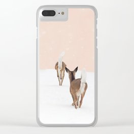 Deer in Winter on Blush Pink Clear iPhone Case