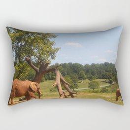Red Elephants Rectangular Pillow