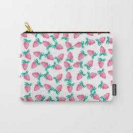 Modern hand painted pink watercolor strawberries Carry-All Pouch