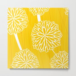 Pom Poms in Yellow by Friztin Metal Print