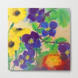 Sunflowers, violets, and peonies flower garden watercolor by Emil Nolde Metal Print