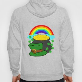 Pot Of Gold Hat And Rainbow Clover St Patricks Day Hoody
