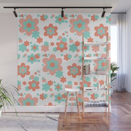Coral and Mint Green Floral Wall Mural