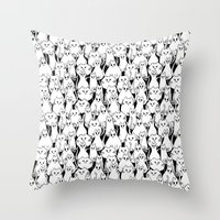 army Throw Pillows featuring Cat Army by From Flora With Love