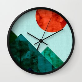 Landscape watercolor collage IV Wall Clock
