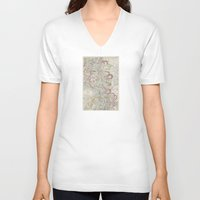 geology V-neck T-shirts featuring Beautiful Map of the Lower Mississippi River by Elegant Chaos Gallery