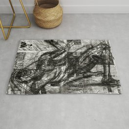 Breaking Loose - Charcoal on Newspaper Figure Drawing Rug