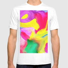 Modern bright neon psychedelic abstract brushstrokes paint MEDIUM White Mens Fitted Tee
