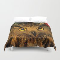 owls Duvet Covers featuring Owls by Ganech joe