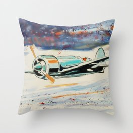 Airplane lost in the snow Throw Pillow