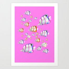 Tropical fish pink edition Art Print