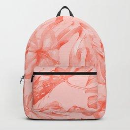 Tropical Dream Palm Leaves Deep Pink Backpack