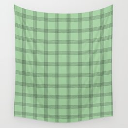Black Grid on Pale Green Wall Tapestry
