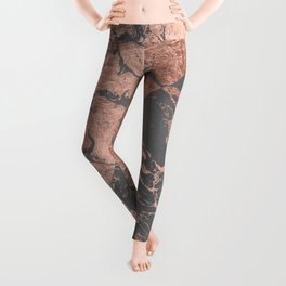 Modern rose gold marble inverted color block grey cement concrete Leggings